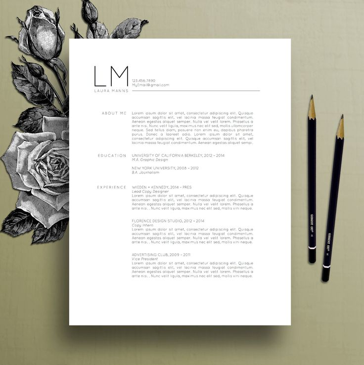 Modern Resume Template CV Template Cover by