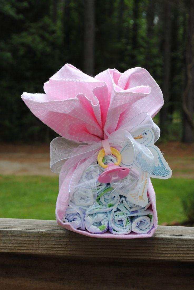 Stork Bundle   - Baby Girl - Baby Shower gift /Centerpiece. $10.00, via Etsy.