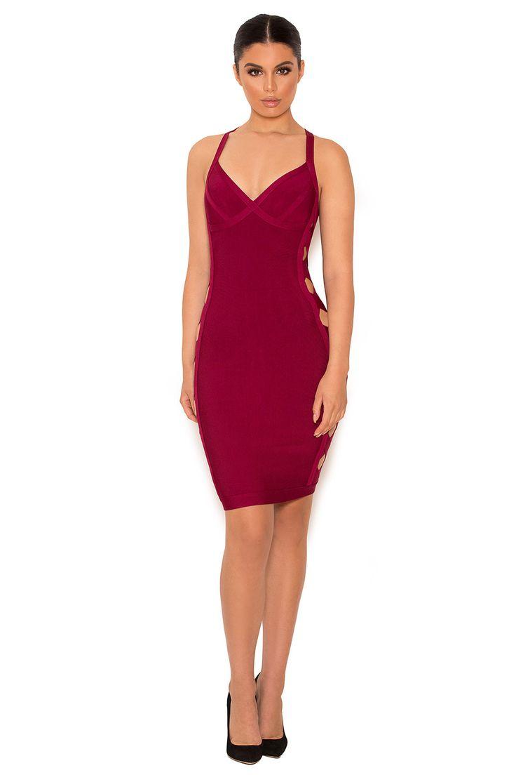 Clothing : Bandage Dresses : 'Filina' Deep Red Lattice ...