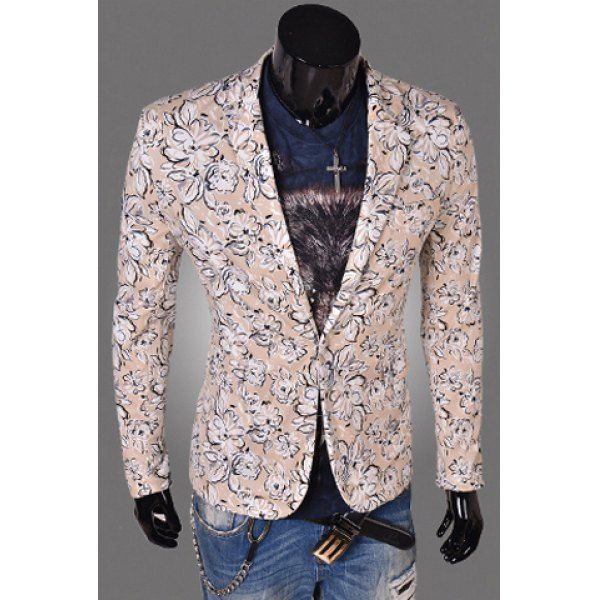 Simple Style Turn-down Collar Slimming Fashion Floral Print Long Sleeves  Men's Cotton Blend Blazer