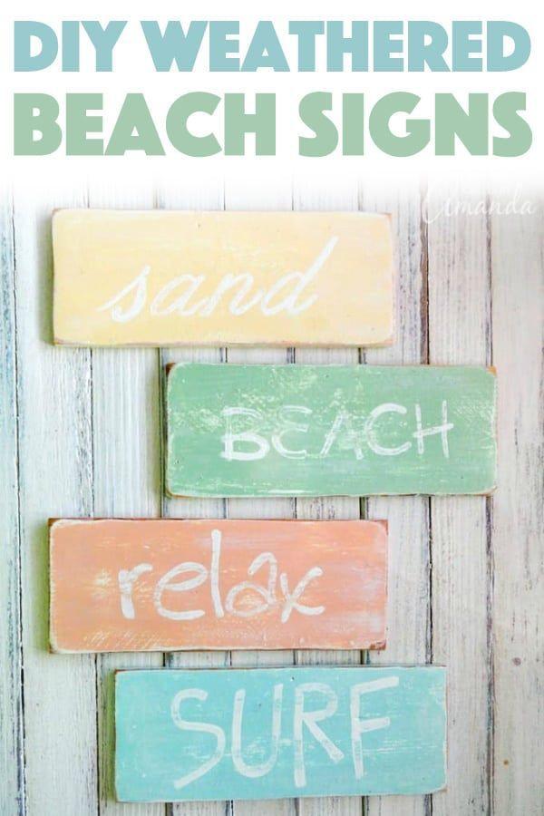 15 Coastal Diy Ideas For Your Home Decor Beach Signs Beach Crafts Diy Signs