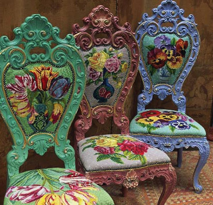 three needlepoint chairs with overblown blooms by Kaffee Fassett these are just drop dead gorgeous and the colour! oh my goodness!