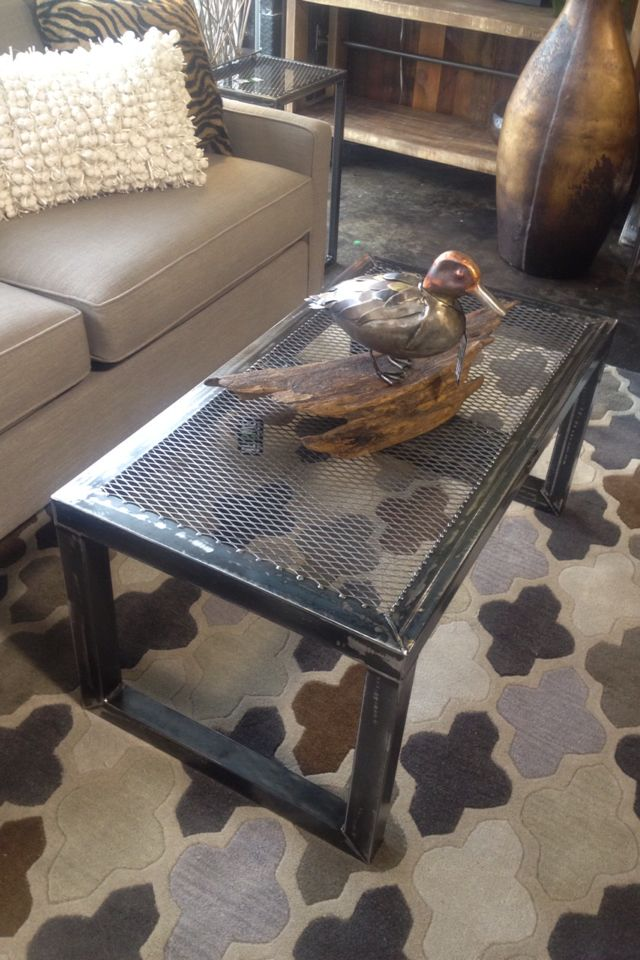 Expanded metal coffe table set of 3. Also copper and steal handmade duck mounted on Arkansas drift wood. Ross Metal Art