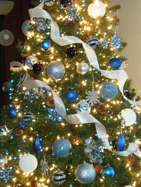 blue silver christmas tree decorations - Decorative Christmas Trees
