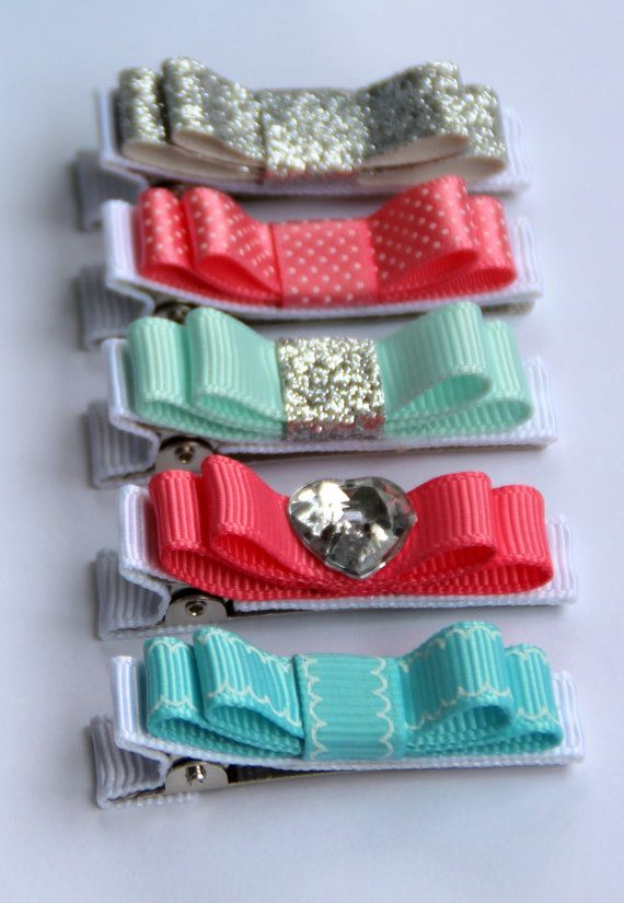 """Set of five Belle's Bows """" coral, mint and silver """" hair bows. glitter hair bows…"""