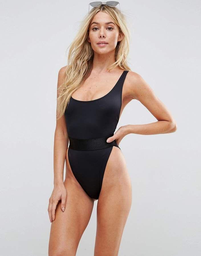 a9ce221b8b450 ASOS High Leg Elastic Waist Swimsuit | Black One-Piece #swimwear #swimsuit  #onepiece #shopstyle #Scoopneck #summer #summerstyle #lowback #beachvacation