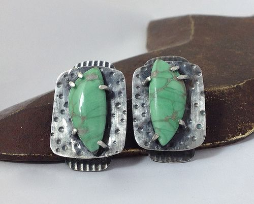 Variscite prong set earrings Made in 2013 class with Connie Fox