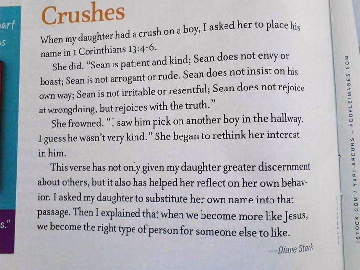 "Crushes: replace ""love"" and ""it"" with their name and gain God's perspective on love from 1 Corinthians 13"