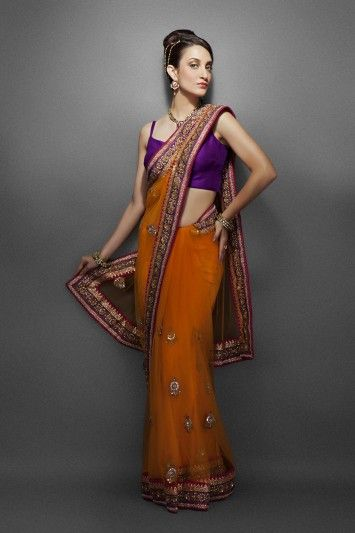 Orange Net Sari with Ethnic Booties
