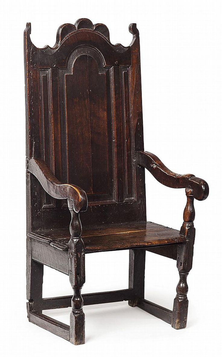 High back antique chairs - Charles I Carved Oak Panel Chair 17th Century The Arched Panel Back Above A Plank