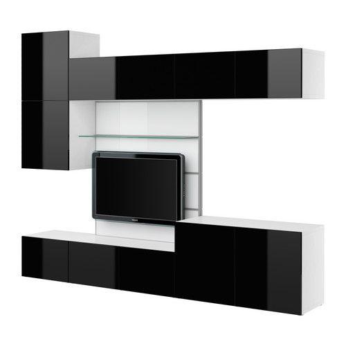 BESTÅ Panel TV con almacenaje audio/vídeo - blanco/alto brillo negro - IKEA