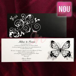 Invitatie ce combina nonculorile alb si negru. Plicul propriuzis al invitatiei este negru cu insertii florale si doi mici fluturasi; in partea dreapta un fluturas lacuit partial, imbina elegant cele doua componente ele invitatiei: plicul negru si cartonul unde se personalizeaza  textul invitatiei. Plicul este inclus in pret.  Pret tiparire:  0.35 lei/buc – negru  0.49 lei/buc – color  0.80 lei/buc – auriu, argintiu.#invitatie de #nunta #mirese #miri #invitatii #elegante #originale