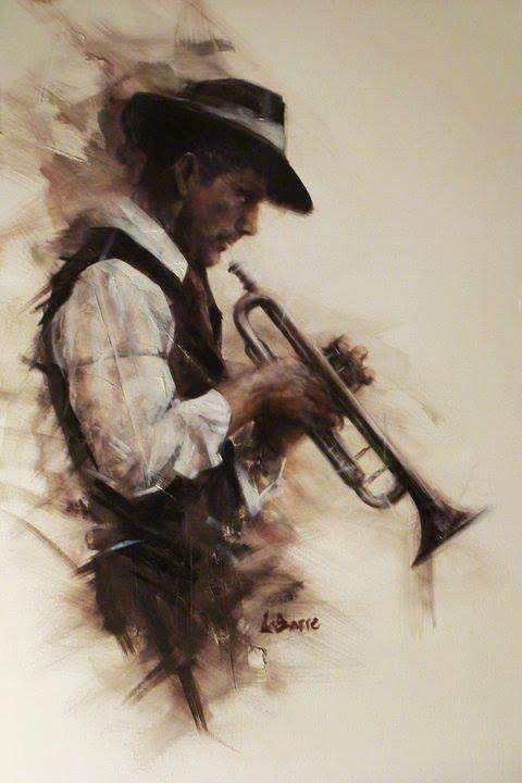 pastel drawing, trumpet player