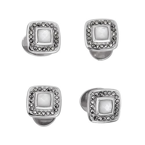Gemstone Square Tuxedo Studs with Faceted Rims