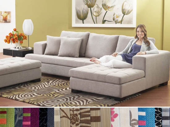 Tufted Sofa sectional with ottoman