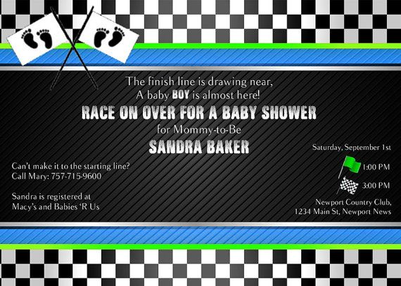 RACING INVITATION  Baby Shower or Birthday. Avail with a black or white background