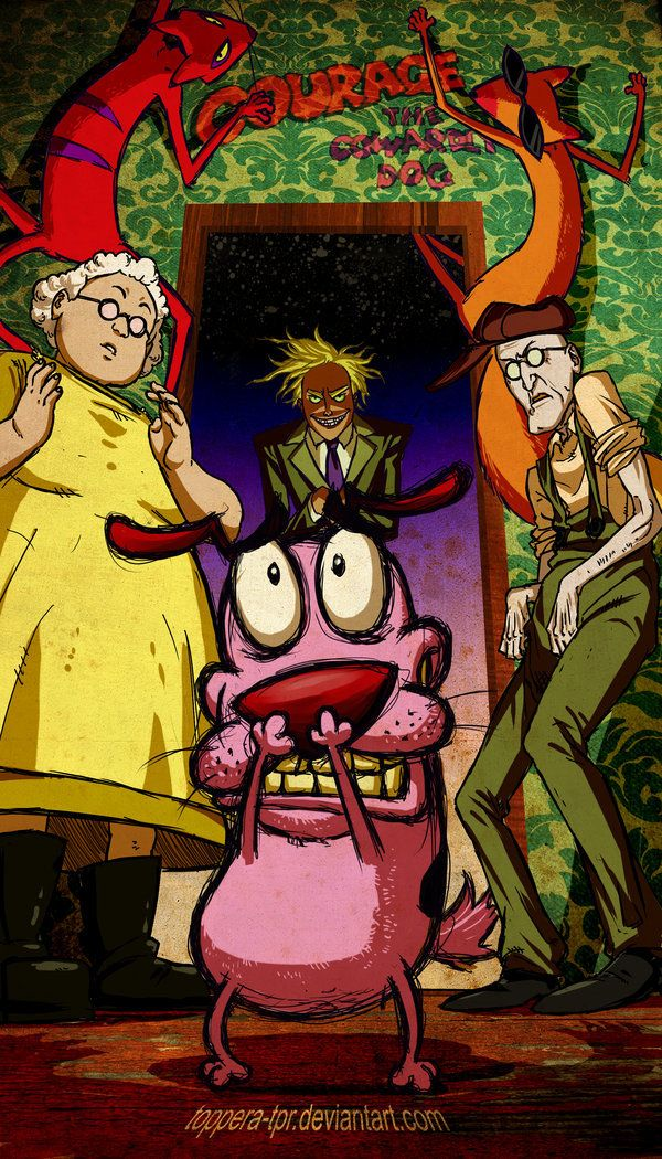 Courage the Cowardly Dog, redrawn.