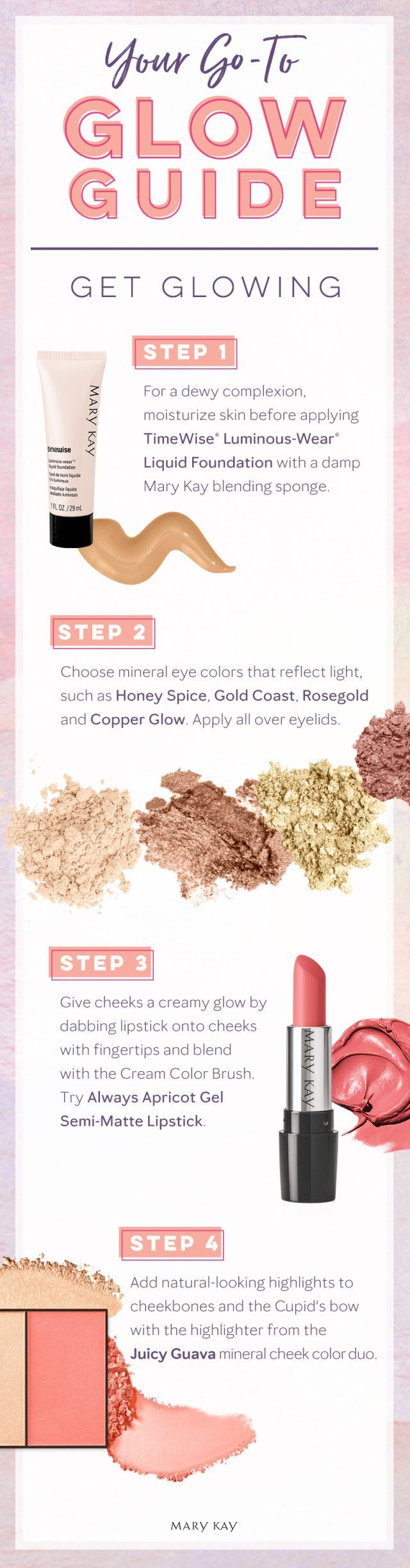 Warmer weather calls for a gorgeous glow. Bring out flushed cheeks, dewy skin, and sunlit highlights with this springtime makeup tutorial! | Mary Kay