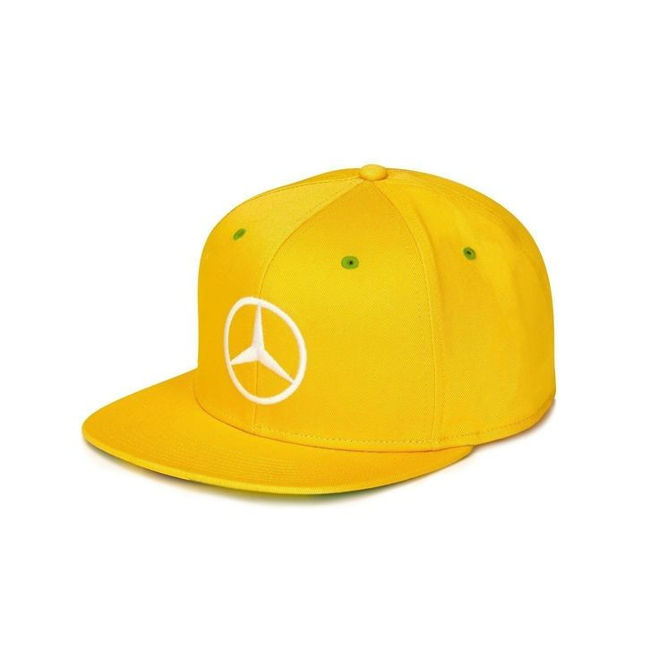 Mercedes AMG Petronas Lewis Hamilton Brazil Special Edition Flat Brim Cap The 2015 Lewis Hamilton Brazil GP Cap is now available for purchase! Yellow flat brim cap with Brazil Flag under brim, snapbac
