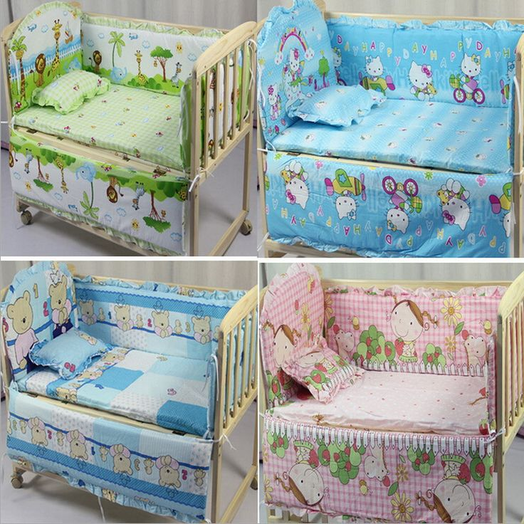 5pcs Baby Crib Bedding Set Kids 100x58cm Newborn Bed Per