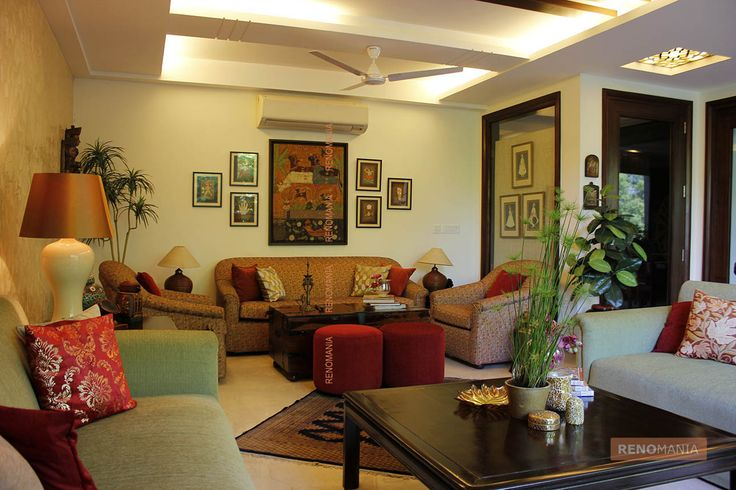 Colourful Space Spacious and comfortable space with a stunning ceiling cut work and colourful interiors give this room the feel of a modern age castle. Credit: Debashish Majumdar Source: Line and Form See more beautiful homes at https://renomania.com/