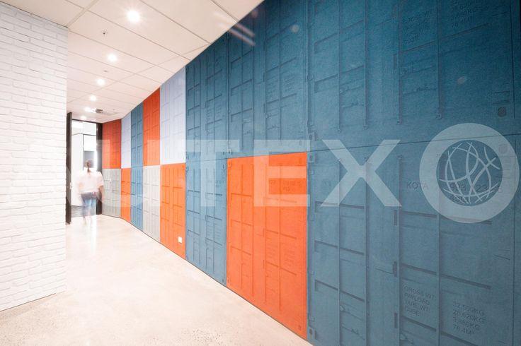 Autex Interior Acoustics - Etch™ - Custom Etch™ freight containers -  Kotahi Logistics, Auckland, NZ - Colours: Atlantis, Brilliant Orange, Civic & Silver