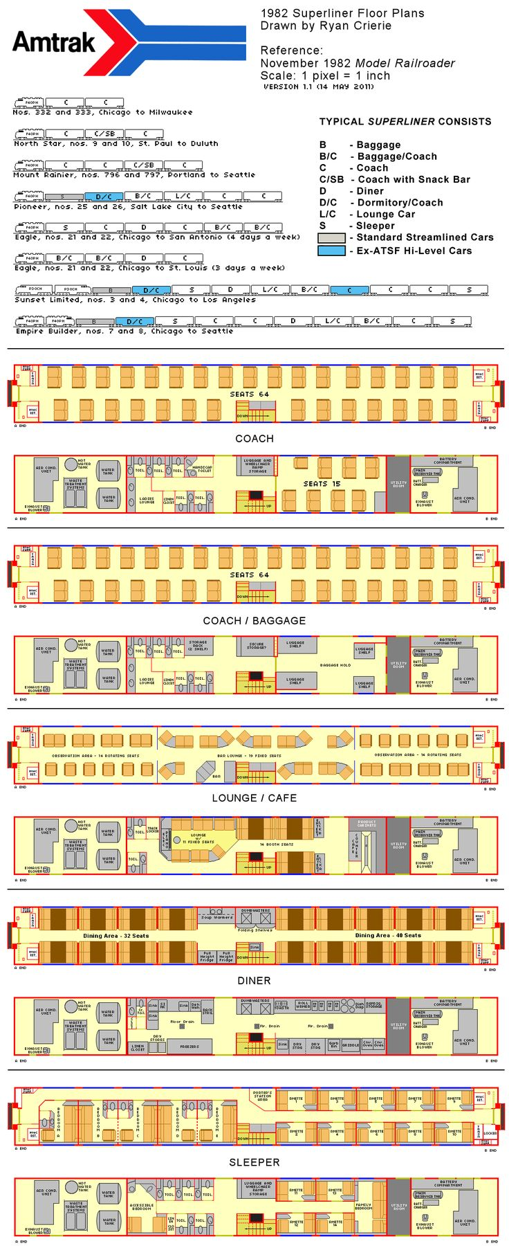 Amtrak superliner flooro plans 1982 diagrams drawings for Quadruplex floor plans