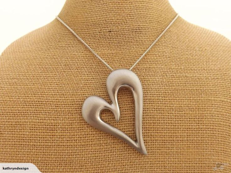 Silver Tone Heart Pendant on Snake Chain    Current Chain Length: 43cm (+8cm extension chain)  Pendant: 60x55mm    New.