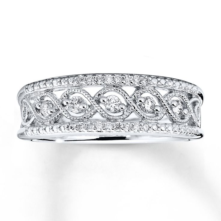 Diamond Ring 1/5 ct tw Round-cut Sterling Silver. Love this ring maybe for a wedding band!!