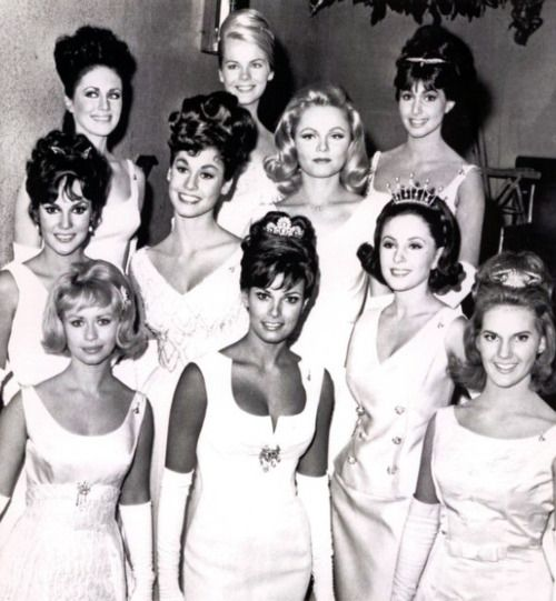 The Hollywood Palladium, 1964  12th Annual Deb Star Ball  1st row:  Beverly Washburn, Raquel Welch, Barbara Parkins, Beverly Stuart  2nd row:  Mary Ann Mobley, Laurie Sibbald, Margaret Mason, Donna Loren  3rd row:  Tracy McHale Janet Landgard.