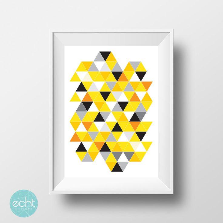 Yellow & Black  Triangles - Geometric Wall Art - Digital Print by ECHTDESIGNS on Etsy