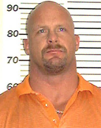 """ "" ""Stone Cold"" Steve Austin pleaded no-contest to charges of assault for striking his wife Debra in 2002. The couple divorced in 2003."