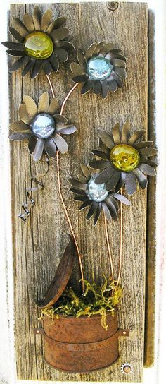 Rustic Floral Wall Art,Home Decor, Flower Wall Hanging, Metal Art, Reclaimed Wood, Home Decor, Glass Flowers, Rustic Home Decor