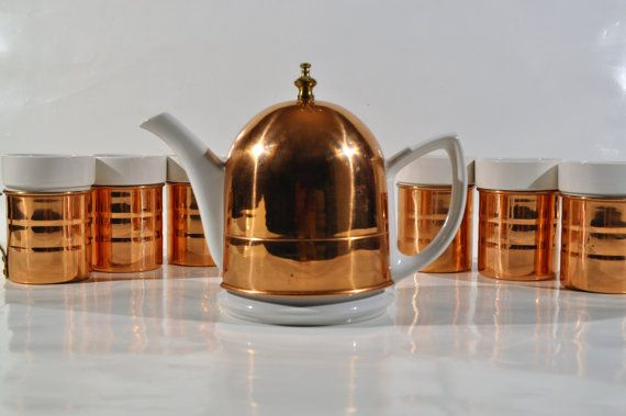 Baker Hart and Stuart Tea Set /ceramic teapot with copper insulated cover and 6 ceramic mugs/copper sleeves/copper kitchen/farmhouse teapot