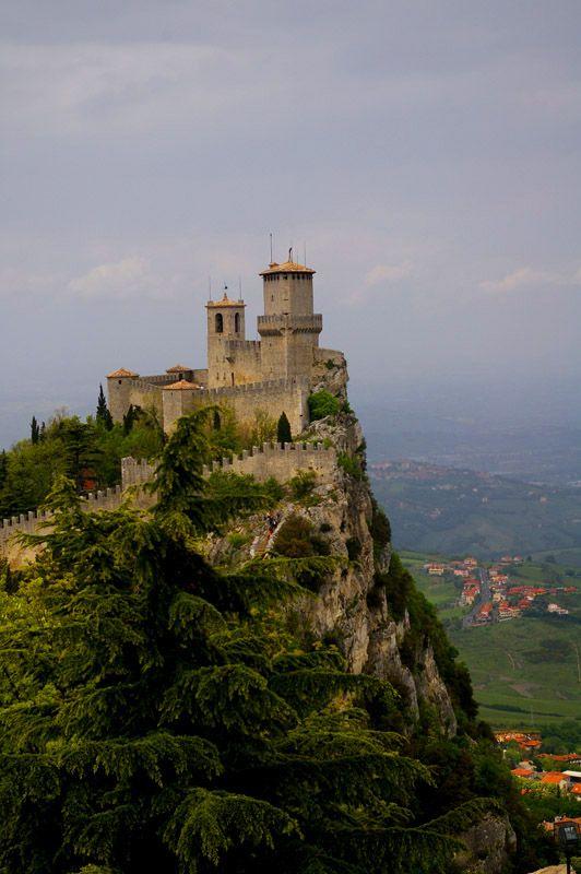 guaita tower majestically sitting atop Mount Titano, San Marino, Italy.