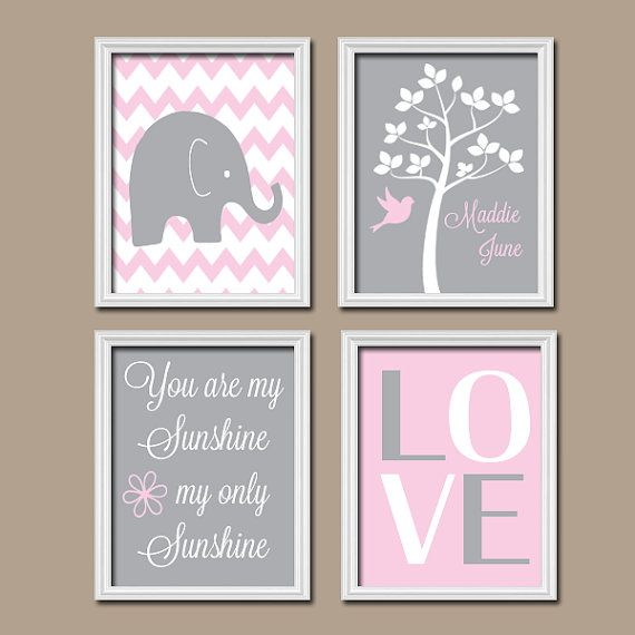 Hey, I found this really awesome Etsy listing at https://www.etsy.com/listing/197901189/pink-gray-nursery-elephant-nursery-wall