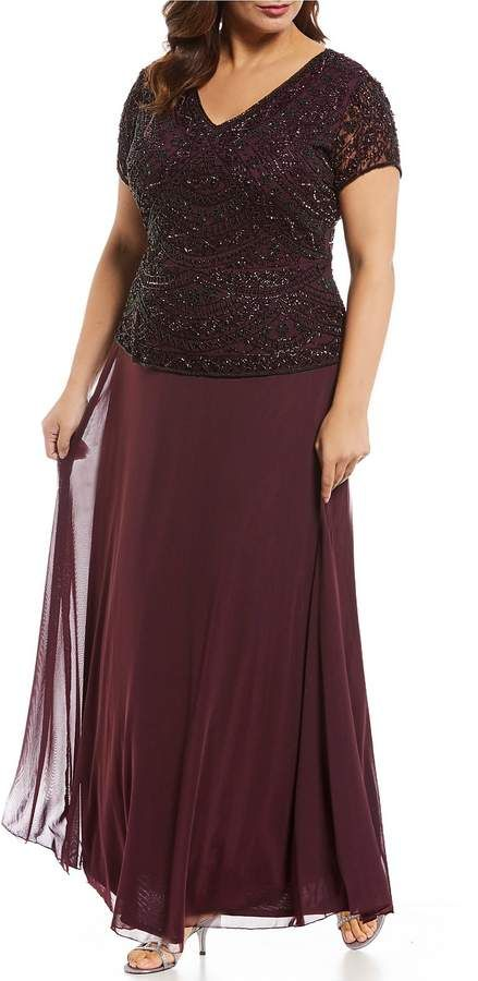 7472074966efa Pisarro Nights Plus Size Cap Sleeve V Neck Beaded Bodice Mock 2-Piece Gown