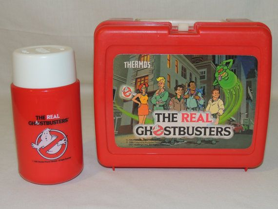 VTG 1986 The Real Ghostbusters THERMOS Lunchbox & Thermos Set Columbia Pictures