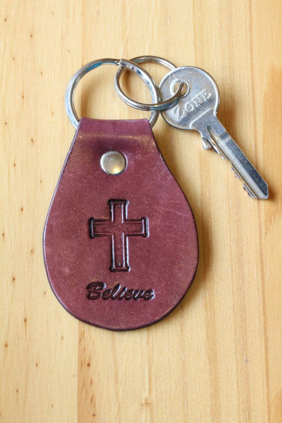 Handmade Leather Believe Religious Cross Keychain by Tina's Leather Crafts on Etsy.com.  Repin To Remember.