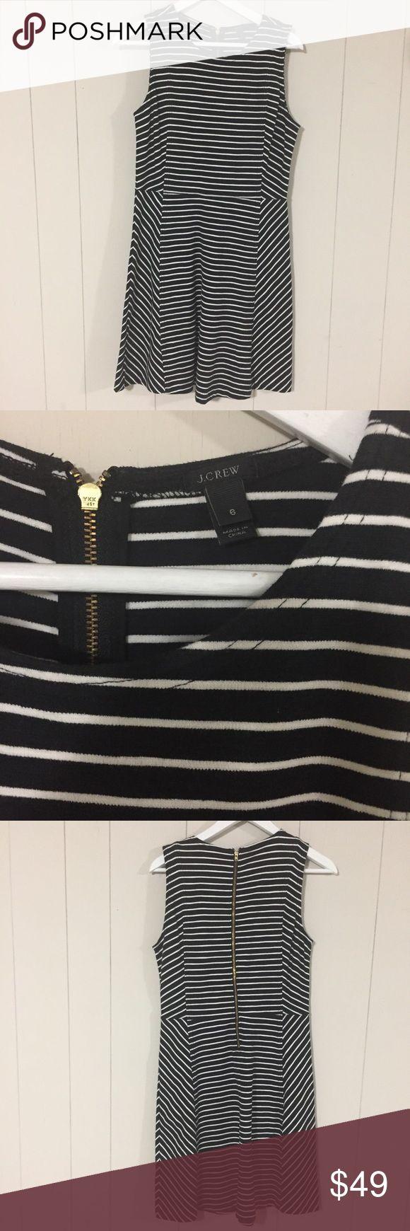 Like New J Crew Paneled Stripe Dress $138 Size 6 In Black and White. A classic wardrobe staple! Own it, wear it, Rock it! J. Crew Dresses