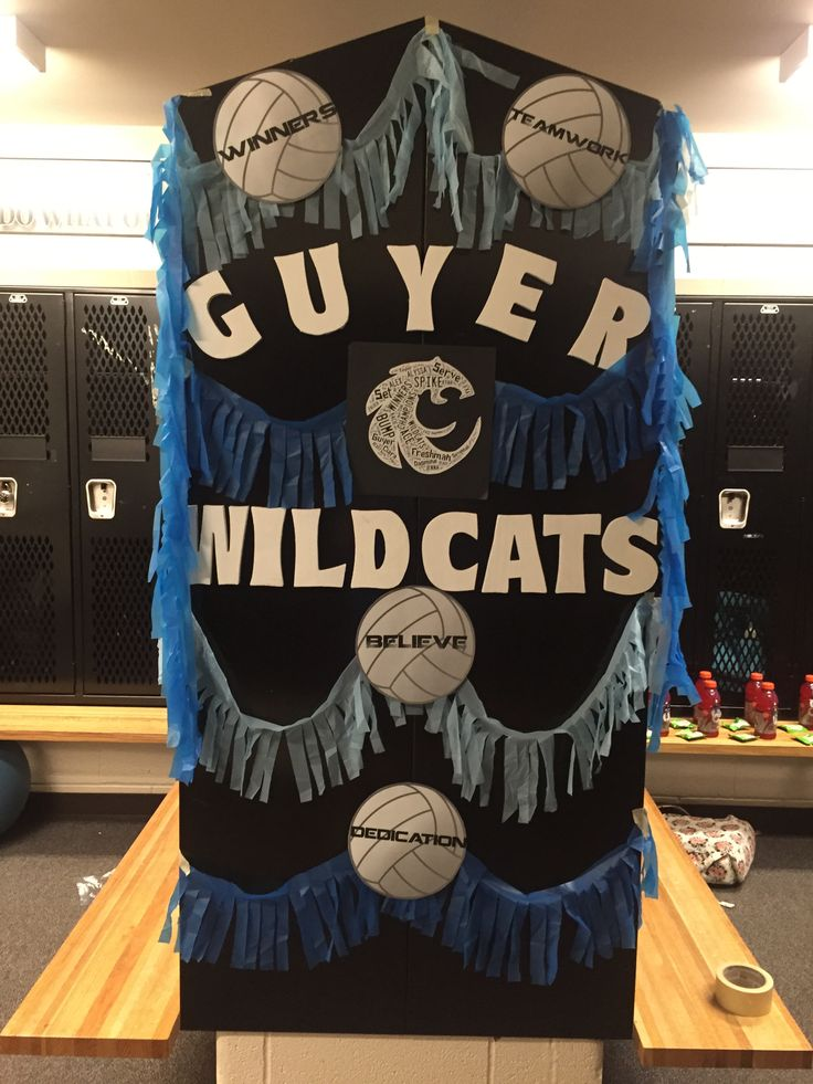 """Volleyball spirit locker room decorations.  Just printed out the volleyballs with regular printer paper...used $1 plastic tablecloths to make the garland and used wordfoto to create the """"wildcat"""" in the center."""