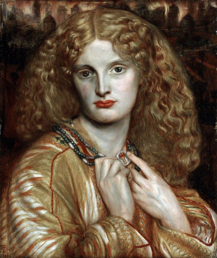 Gabriel Charles Rossetti (1828-1882) Helena von Troja | Helen of Troy 1863 Oil on mahogany 32.8 cm x 27.7 cm Hamburger Kunsthalle © bpk, Hamburger Kunsthalle Photo: Elke Walford