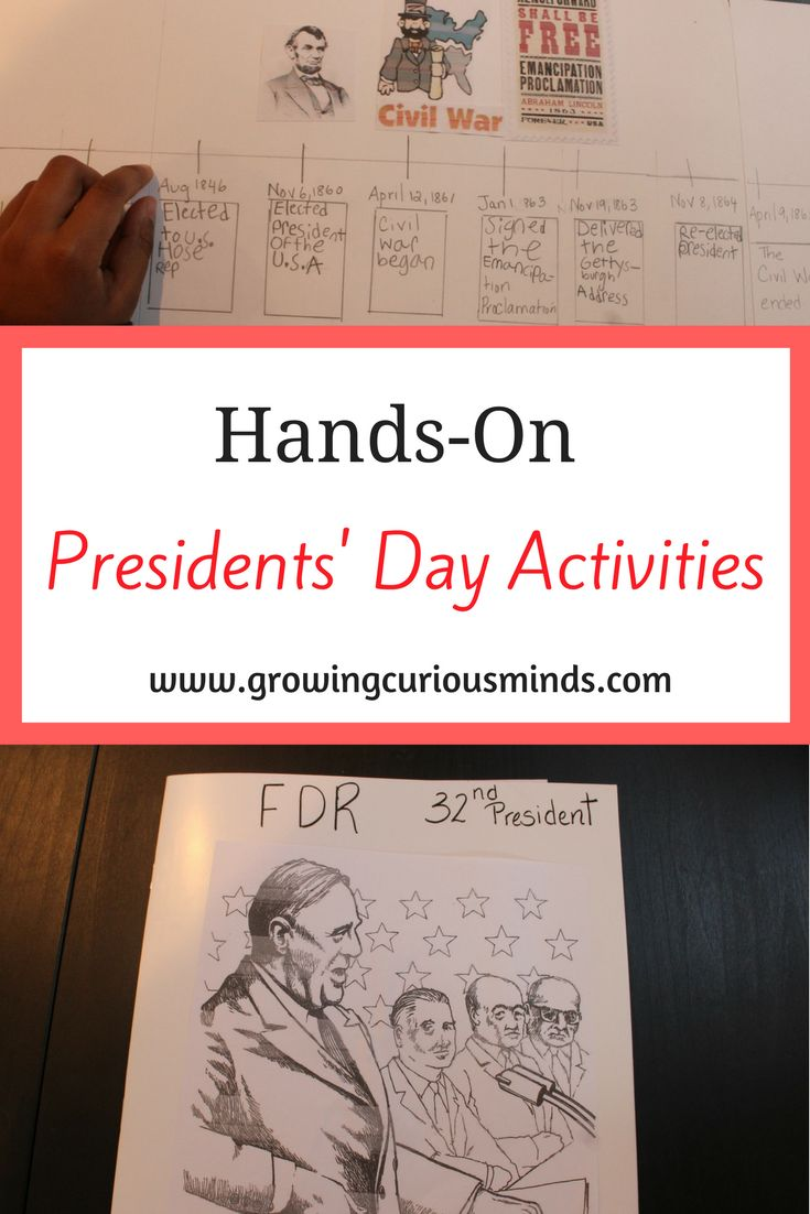 Hands-On Presidents Day Activities for Elementary students. Make learning about history fun and engaging using these hands-on activities. #presidentsday #abrahamlincoln #fdr #elementary via @growingcuriousminds
