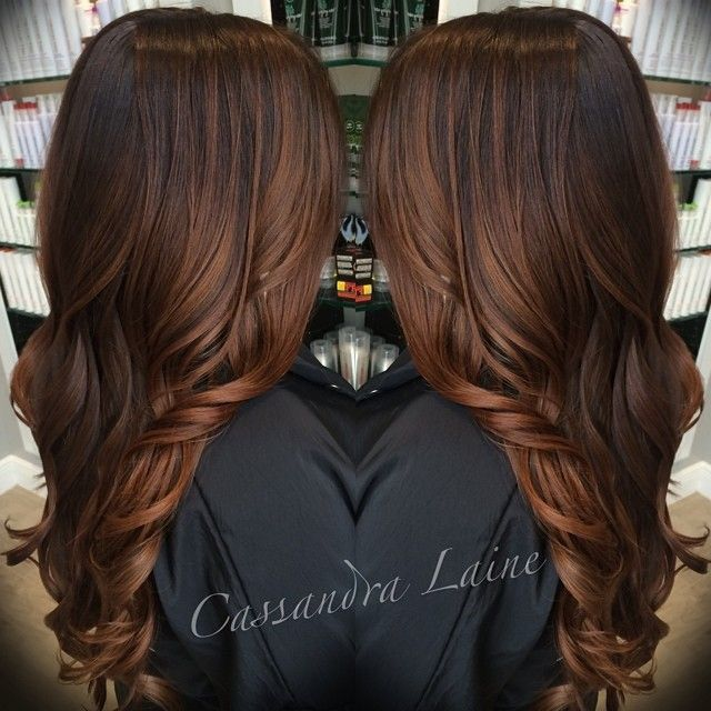 DEFINITION OF HAIR GOALS Chocolate caramel balayage. Dark brown