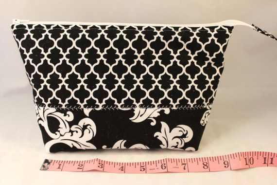 Flat Bottom Pouch  Black  Padded  Lined  Black by KRaeDesign