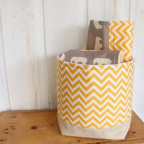 Storage Basket Fabric Organizer Yellow Chevron by acraftyhen