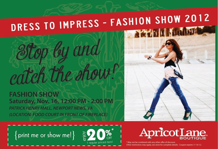 Will you be at Patrick Henry Mall today? If so, stop by and check out some of our latest fashions at the Dress to Impress Fashion Show!  #ApricotLaneNPN