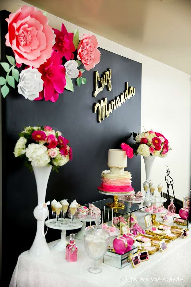 Pink and Black floral Baby Shower. | CatchMyParty.com