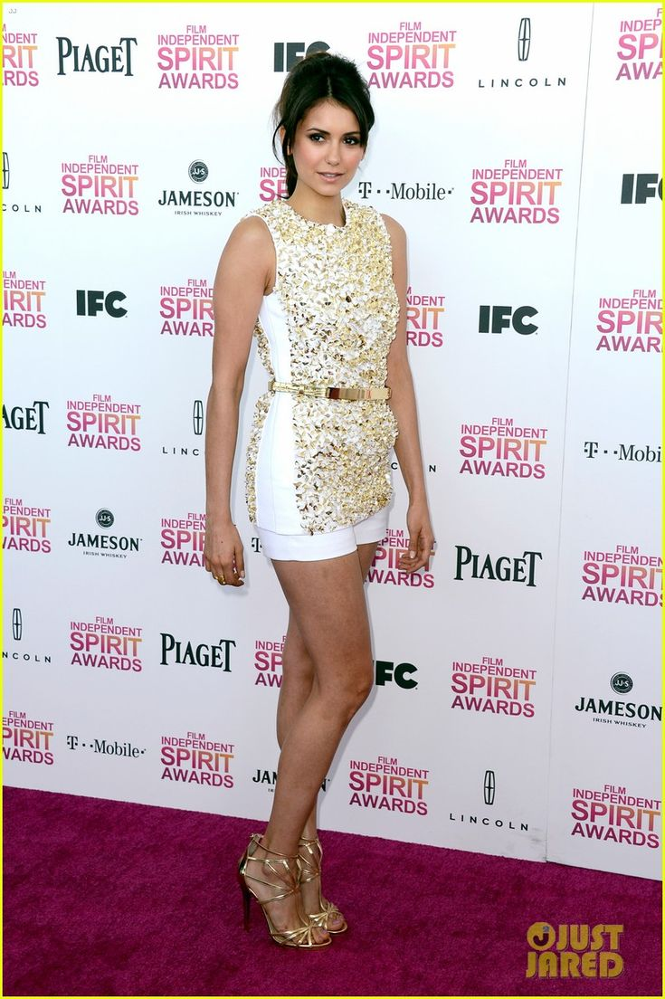 "Nina Dobrev.    Independent Spirit Awards.    ""Michael Kors dress, Jimmy Choo shoes, and an H. Stern ring."""