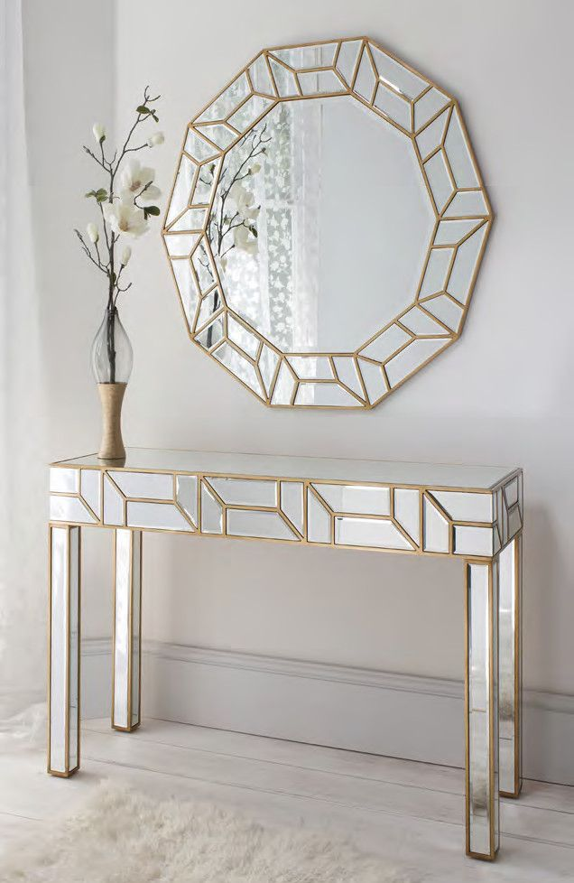 Geometria Gold & Mirrored Console Table & Mirror Set